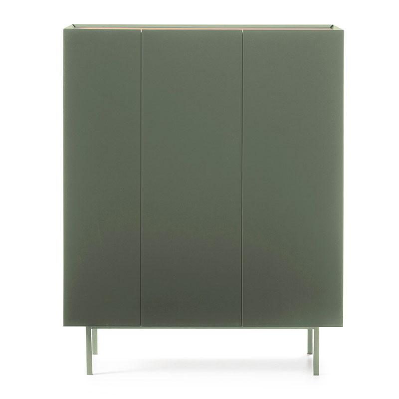 Meuble bar 3 portes Vert/Chêne - MELYS