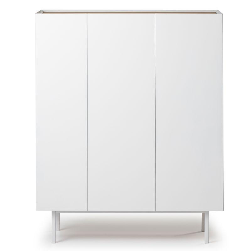 Meuble bar 3 portes Blanc/Chêne - MELYS
