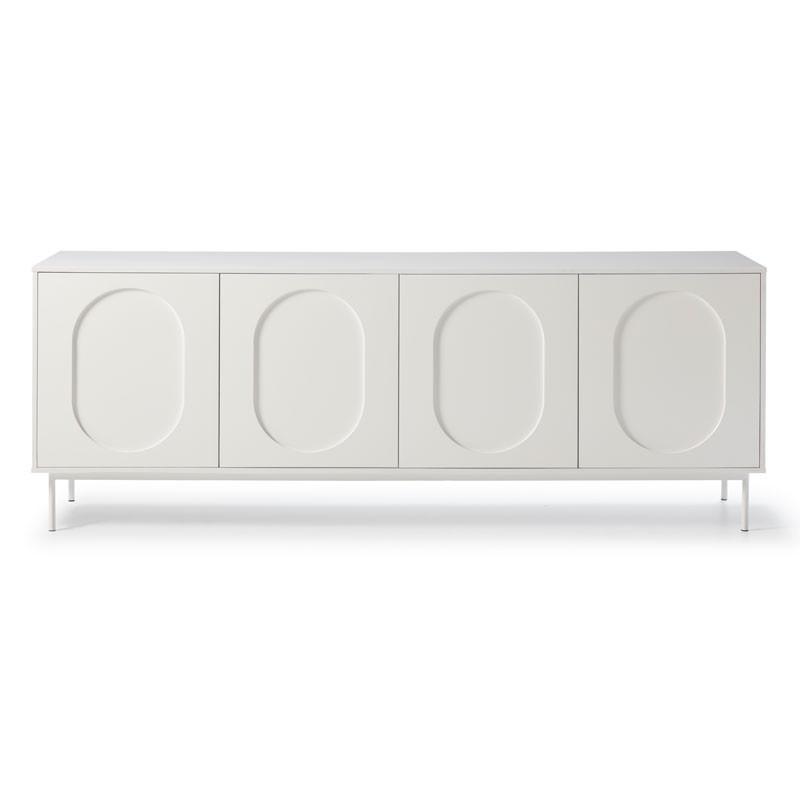Buffet bas 4 portes 3 tiroirs Blanc - RICO