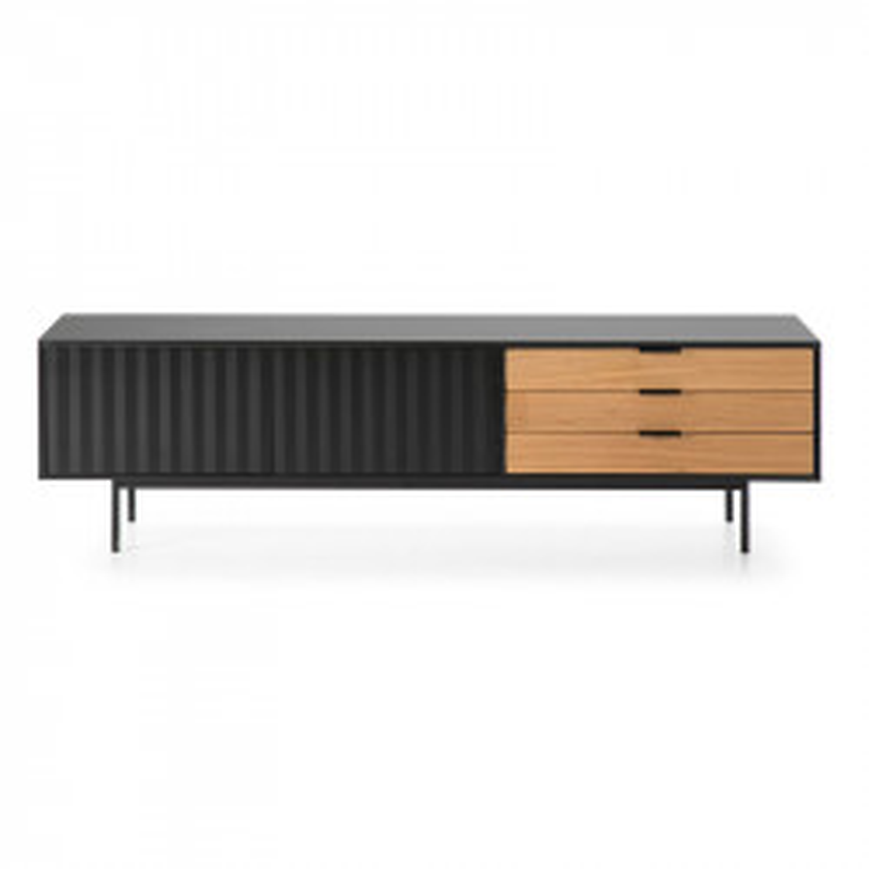 Long meuble TV 2 portes 3 tiroirs Noir/Chêne - TRINY