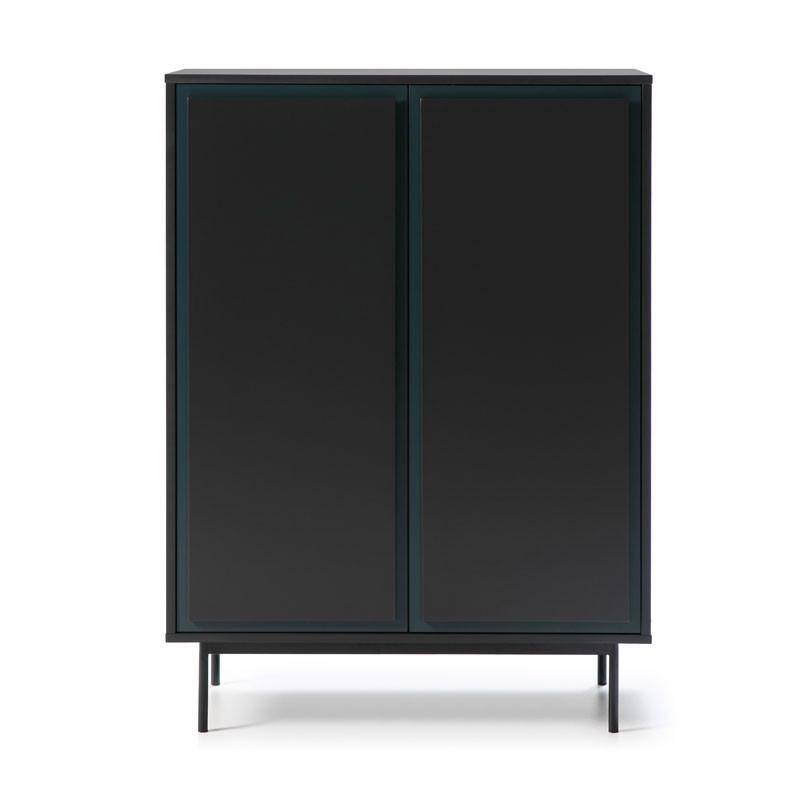 Meuble d'entrée 2 portes 2 tiroirs Gris foncé/Bleu - PAITUS