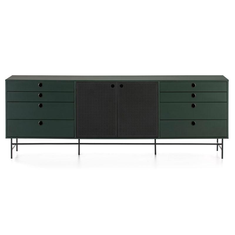 Buffet 2 portes 8 tiroirs Vert/Noir - PAYA