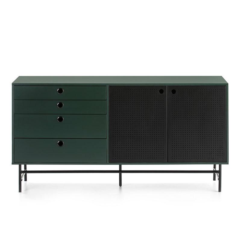 Buffet 2 portes 4 tiroirs Vert/Noir - PAYA