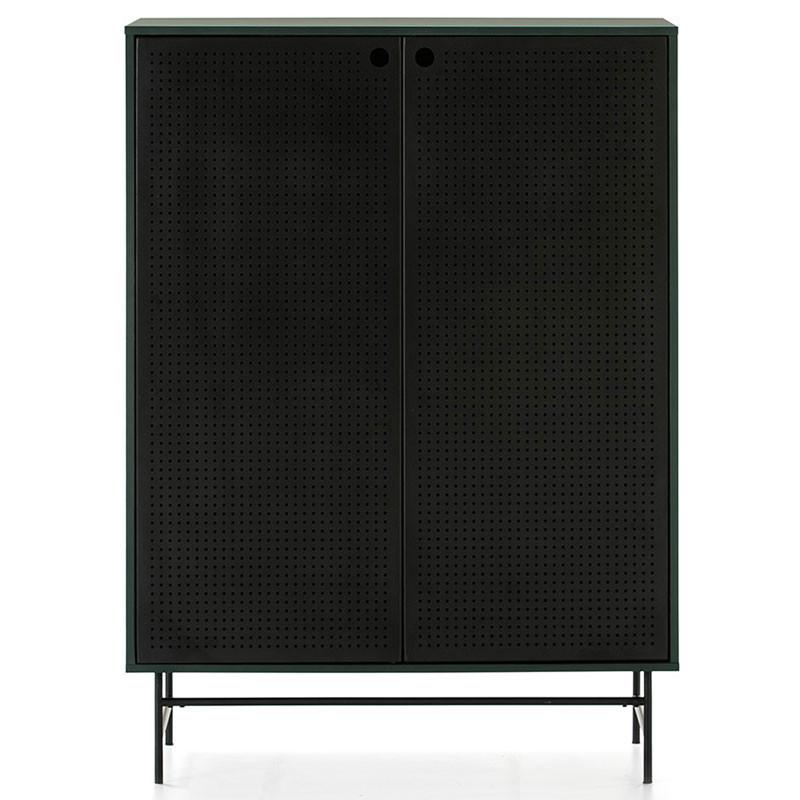 Meuble d'entrée 2 portes 4 tiroirs Vert/Noir - PAYA