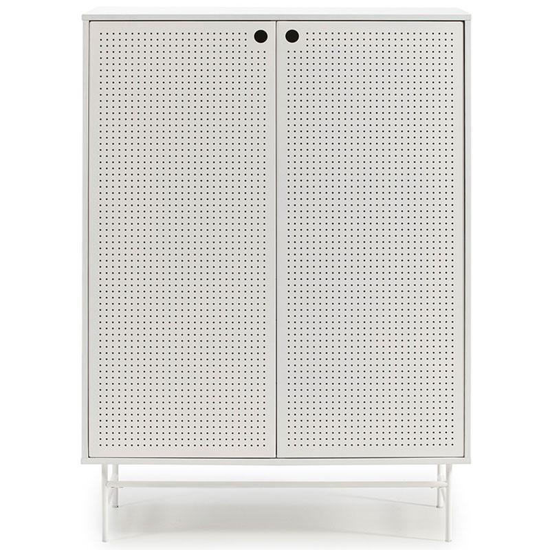 Meuble d'entrée 2 portes 4 tiroirs Blanc/Blanc - PAYA