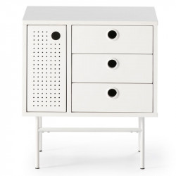 Table de chevet 1 porte 3 tiroirs Blanc/Blanc - PAYA