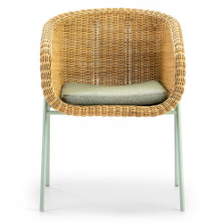 Fauteuil Rotin pieds Verts + coussin - SEGO