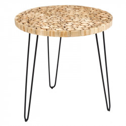 Table d'appoint ronde Bois/Noir - WOOD