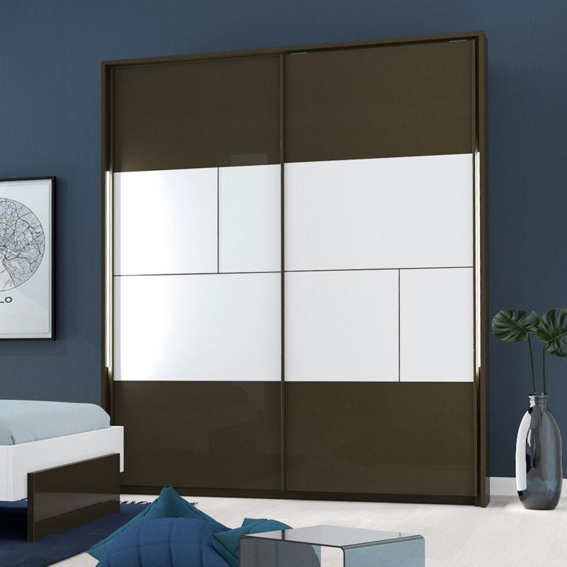 Armoire 2 portes coulissantes à LEDs Gris anthracite/Blanc - FLORINE