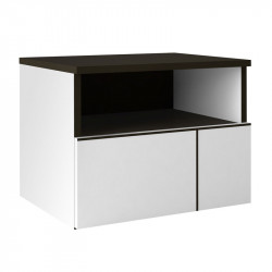 Table de chevet 1 tiroir Gris anthracite/Blanc - FLORINE