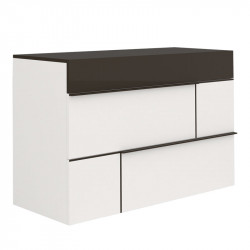 Commode 3 tiroirs Gris anthracite/Blanc - FLORINE
