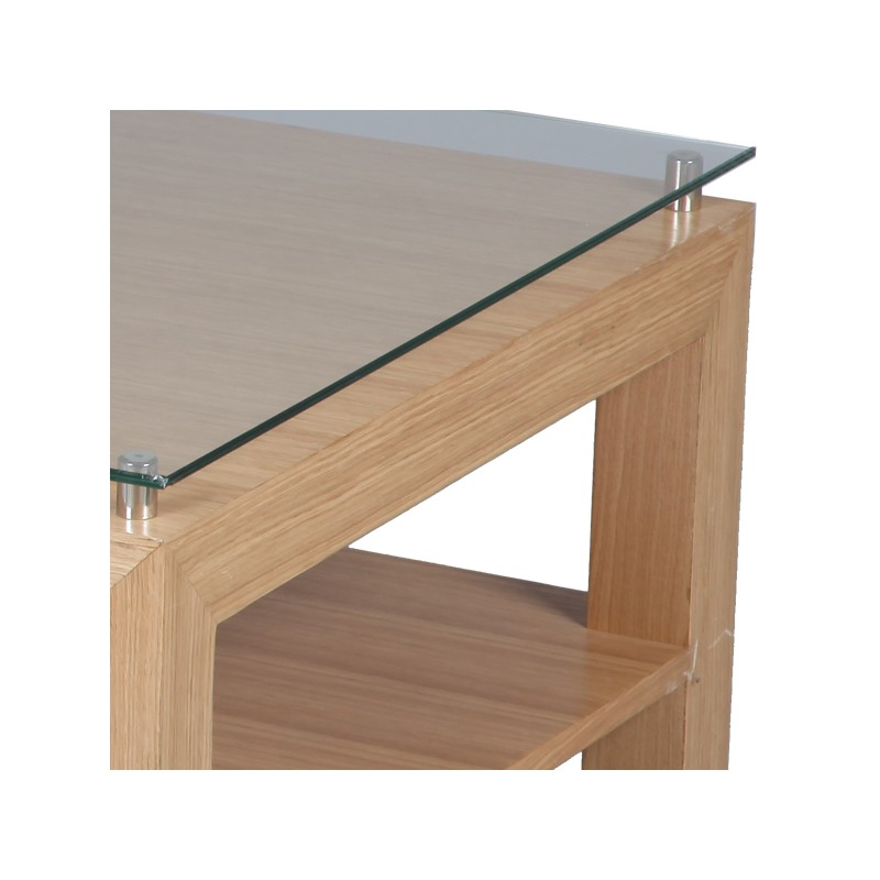 Table basse en bois de ch ne oaked univers salon tousmesmeubles - Table basse bois chene ...