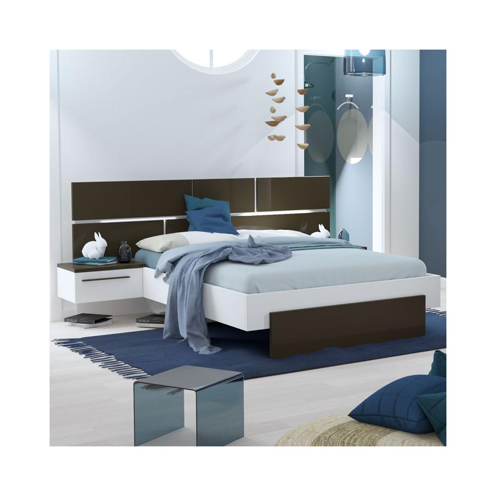 Cadre + Tête de lit 140*190 + chevets Gris anthracite/Blanc - FLORINE