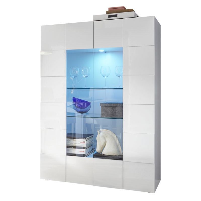Vitrine 2 portes Laqué Blanc brillant avec LED's - TICATO