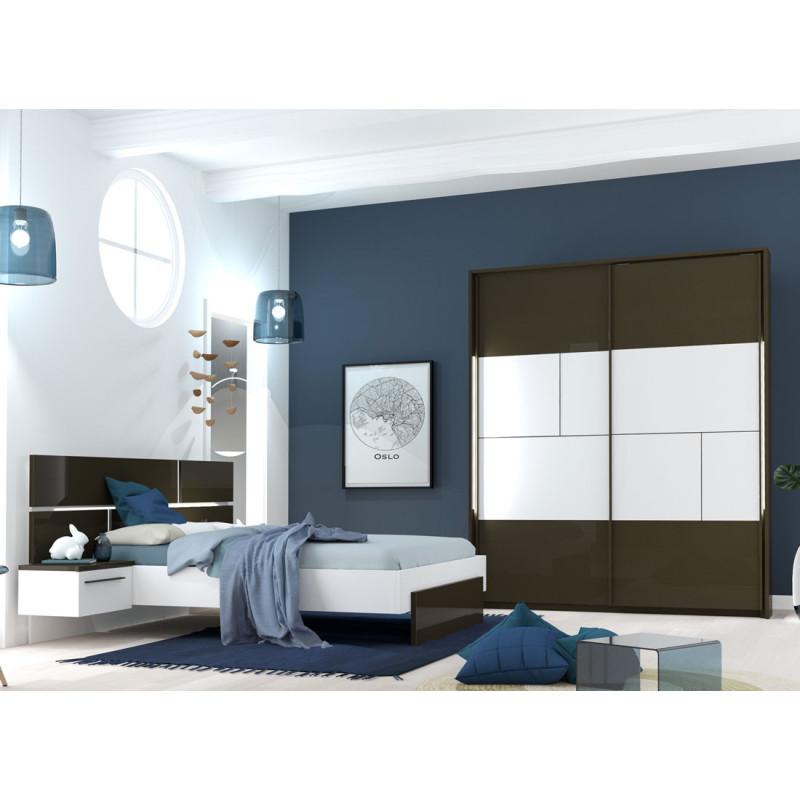 Chambre Adulte Complète Gris/Blanc (140*190) - FLORINE n°1