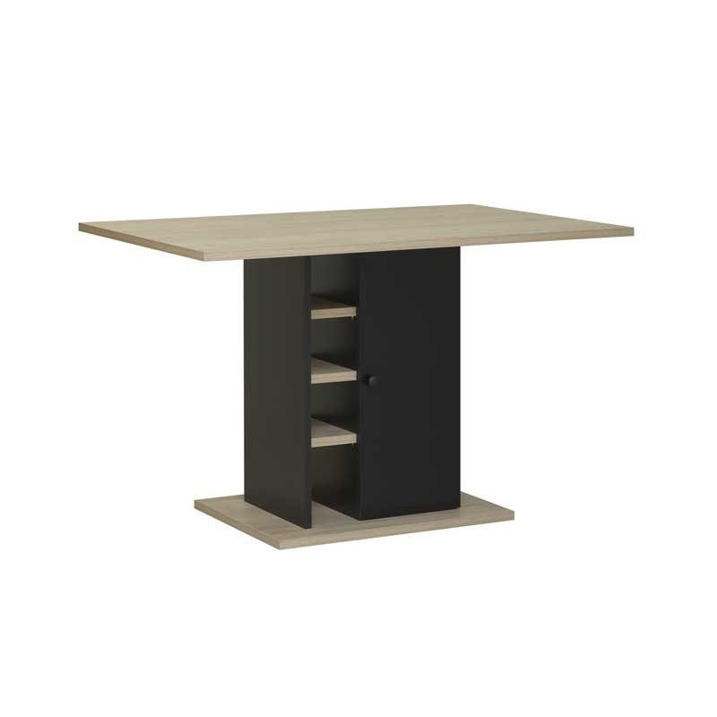 Table de repas rectangulaire pied central avec rangement bois clair noir industriel - Univers Salle à Manger : Tousmesmeubles