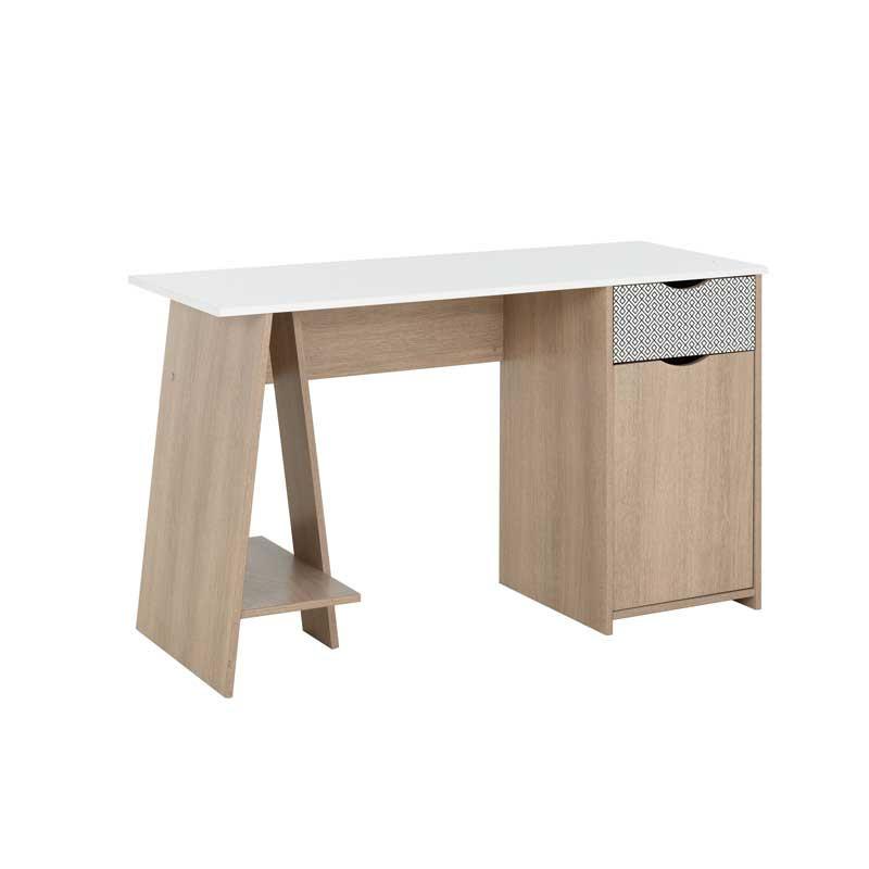 Bureau 1 porte 1 tiroir Bois/Blanc scandinave nature - Univers Bureau : Tousmesmeubles