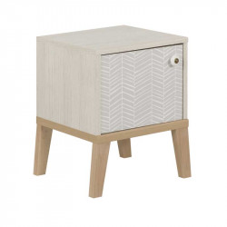 Table de chevet 1 porte Bois blanchi junior fille scandinave SOLVEIG - Univers Chambre : Tousmesmeubles