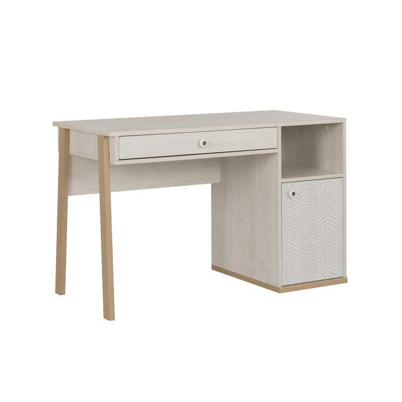 Bureau 1 porte 1 tiroir Bois blanchi junior fille scandinave SOLVEIG - Univers Bureau : Tousmesmeubles