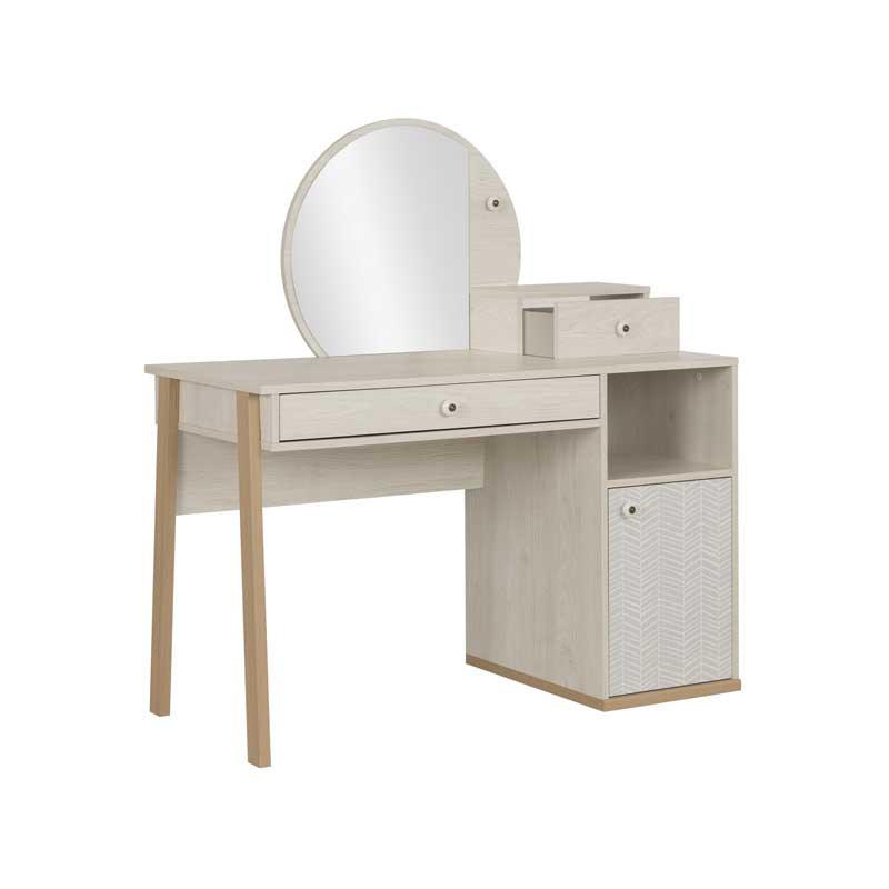 Coiffeuse 1 porte 2 tiroirs Bois blanchi junior fille scandinave SOLVEIG - Univers Chambre : Tousmesmeubles