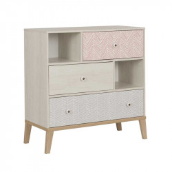 Commode 3 tiroirs Bois blanchi junior fille scandinave SOLVEIG - Univers Chambre : Tousmesmeubles
