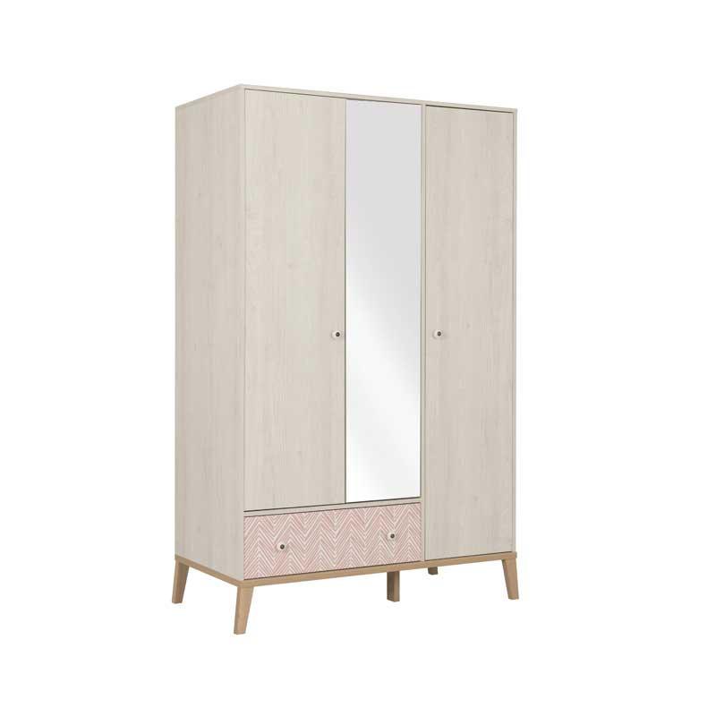 Armoire 3 portes 1 tiroir Bois blanchi junior fille scandinave SOLVEIG - Univers Chambre : Tousmesmeubles