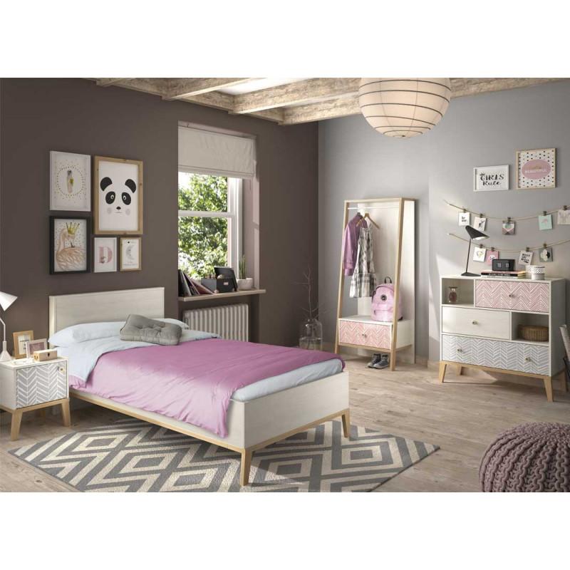 Chambre Enfant Complète (120*190) Bois blanchi scandinave junior fille SOLVEIG - Univers Chambre : Tousmesmeubles