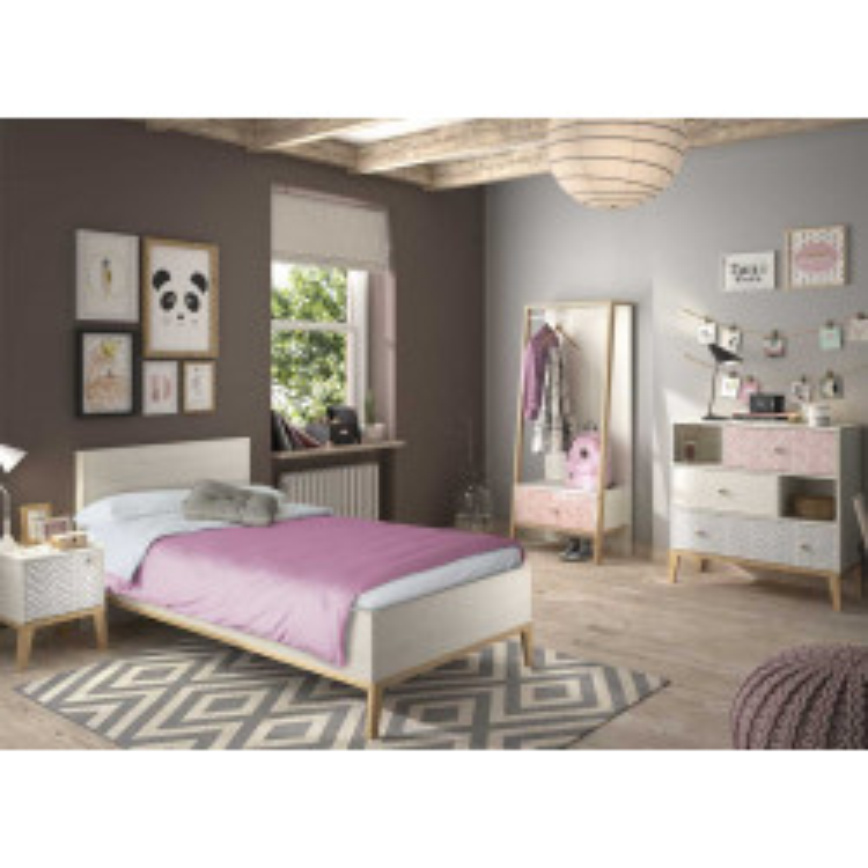Chambre Enfant Complète (120*200) Bois blanchi scandinave junior fille SOLVEIG - Univers Chambre : Tousmesmeubles