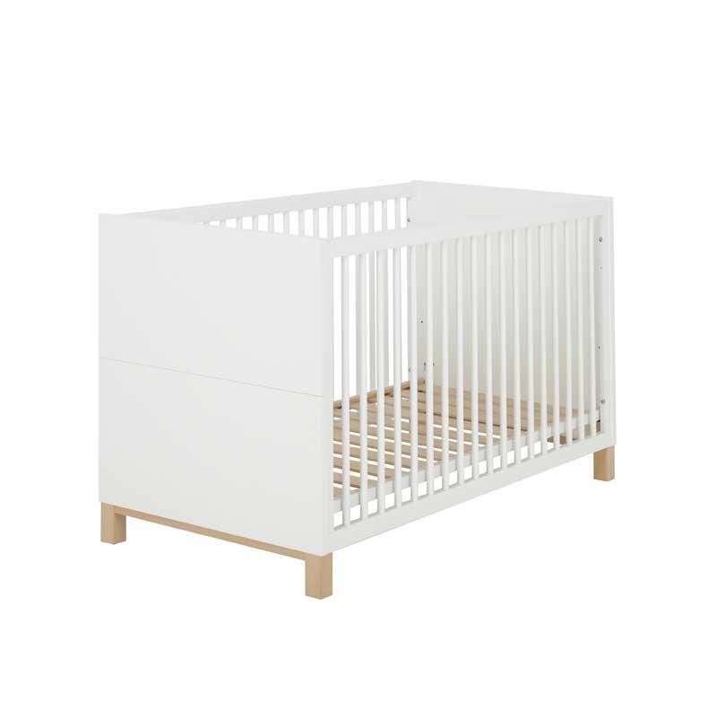 Lit à barreaux 70x140 bébé Blanc/Bois CIEL - Univers Chambre : Tousmesmeubles