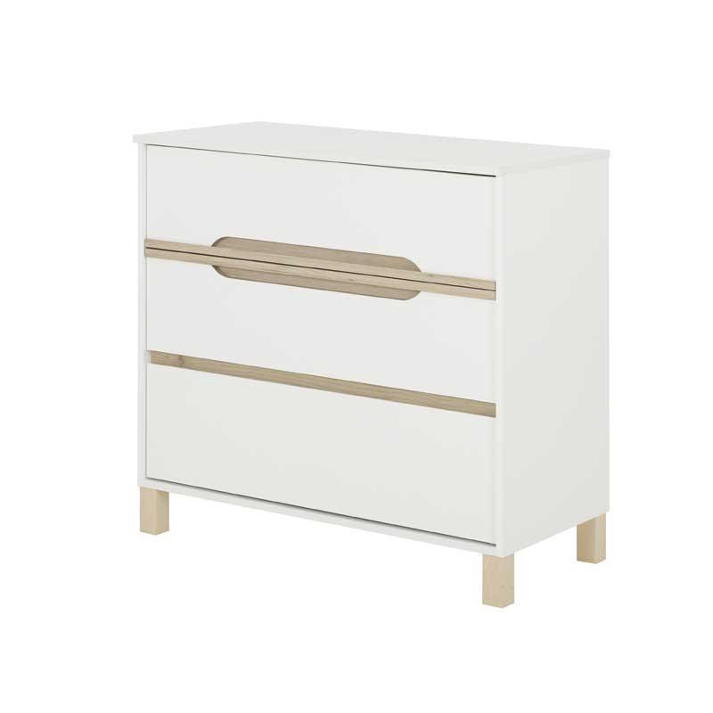 Commode bébé 3 tiroirs Blanc/Bois CIEL - Univers Chambre : Tousmesmeubles
