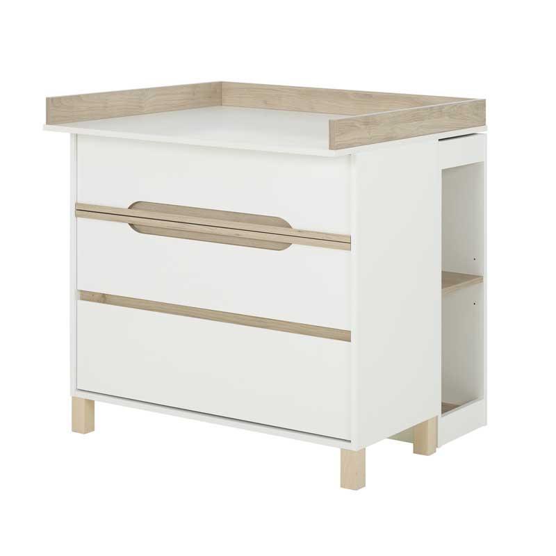 Commode à langer 3 tiroirs Blanc/Bois - CIEL