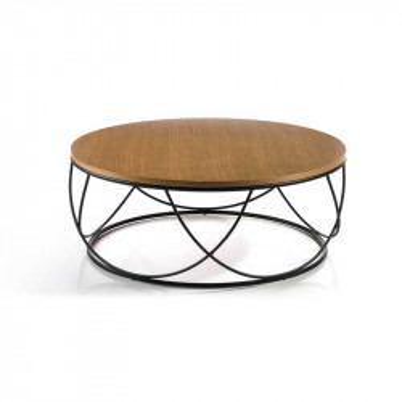 Table basse ronde Chêne/Métal noir - NAPIER
