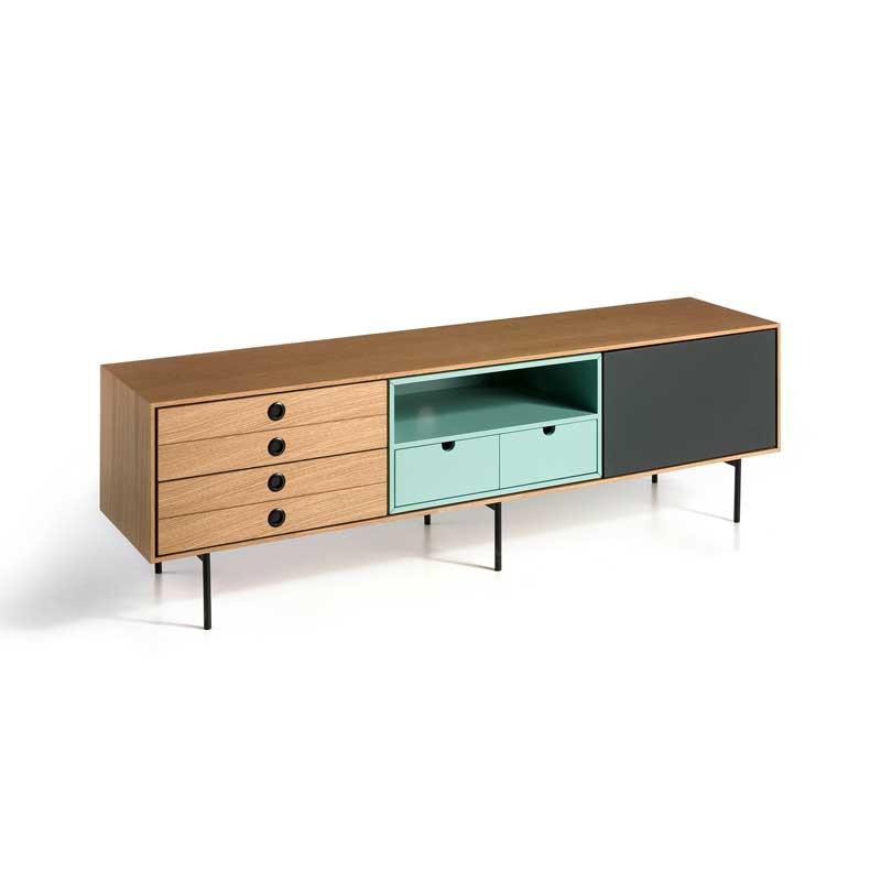 Meuble TV 1 porte 4 tiroirs Chêne/Turquoise/Gris - NAPIER