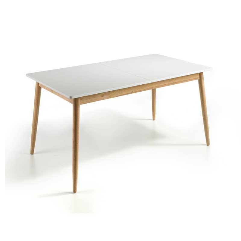 Table de repas à allonge Blanc/Chêne - KAIKOURA n°2