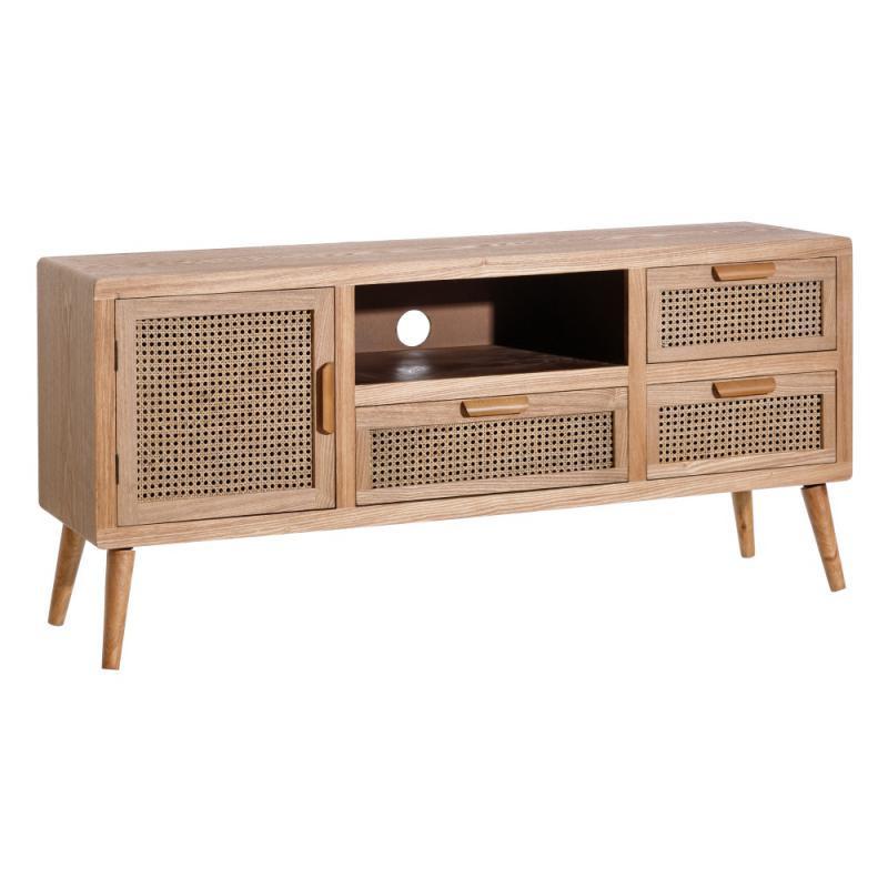 Meuble TV 1 porte 3 tiroirs Bois/Rotin - TREND