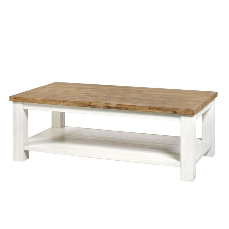 Table basse rectangulaire 2 plateaux Blanc/Bois - DUNEDIN