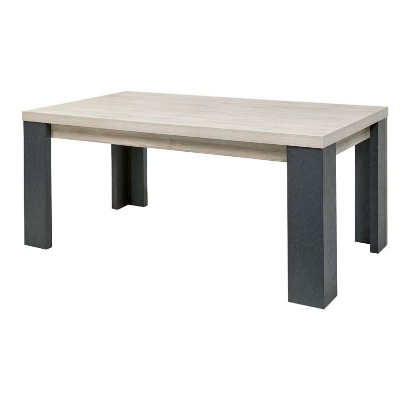 Table de repas rectangulaire Chêne délavé/Gris foncé - PORIRUA