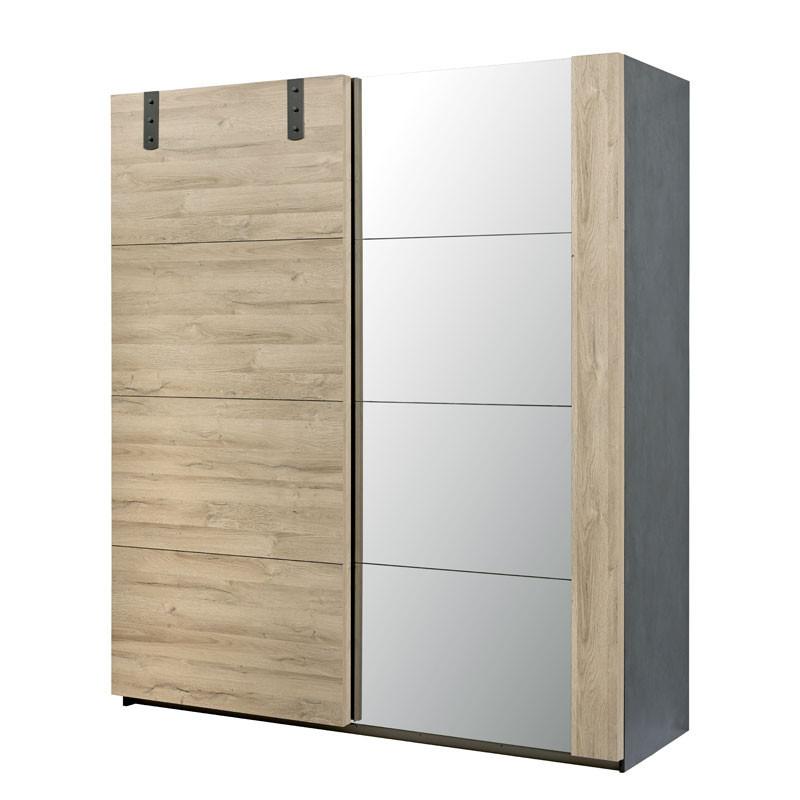 Armoire 2 portes coulissantes Chêne/Miroir - OUDONG