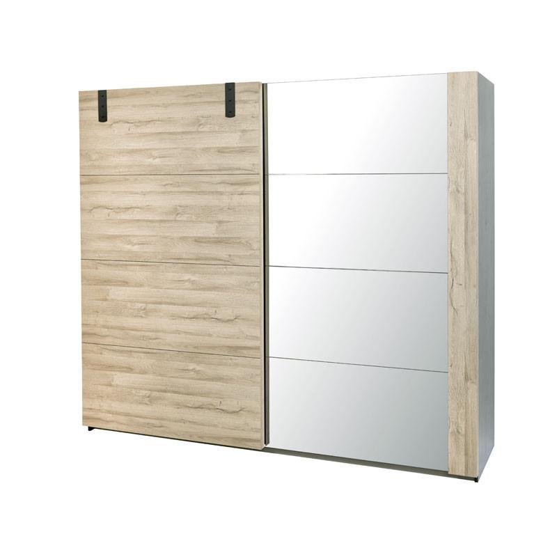 Armoire 2 portes coulissantes Chêne/Miroir - OUDONG n°2
