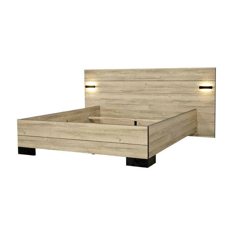 Cadre + Tête de lit 160*200 cm Chêne naturel - OUDONG