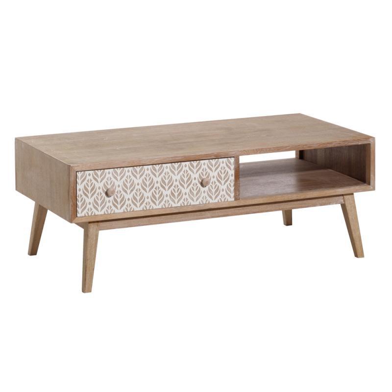 Table basse 1 niche 1 tiroir Bois/Blanc - NAVIAN