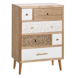 Commode 6 tiroirs Blanc/Bois Naturel - ETCH