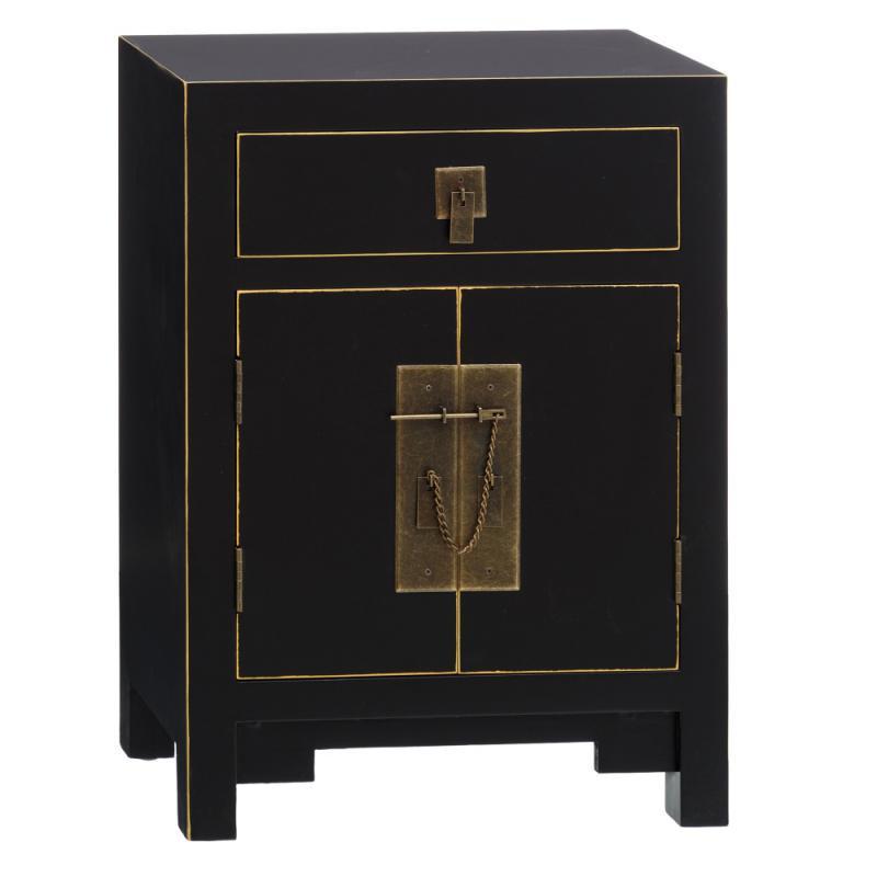 Table de chevet 2 portes 1 tiroir Noir - SHANGHAI