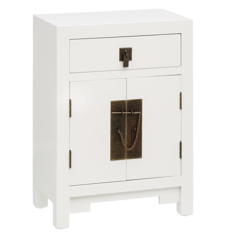 Table de chevet 2 portes 1 tiroir Blanc - SHANGHAI