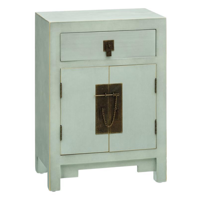Table de chevet 2 portes 1 tiroir Vert Menthe - SHANGHAI