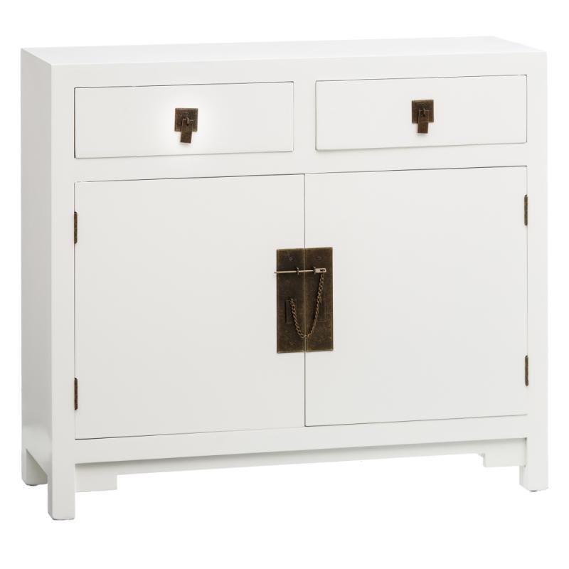 Meuble d'entrée 2 tiroirs 2 portes Blanc - SHANGHAI
