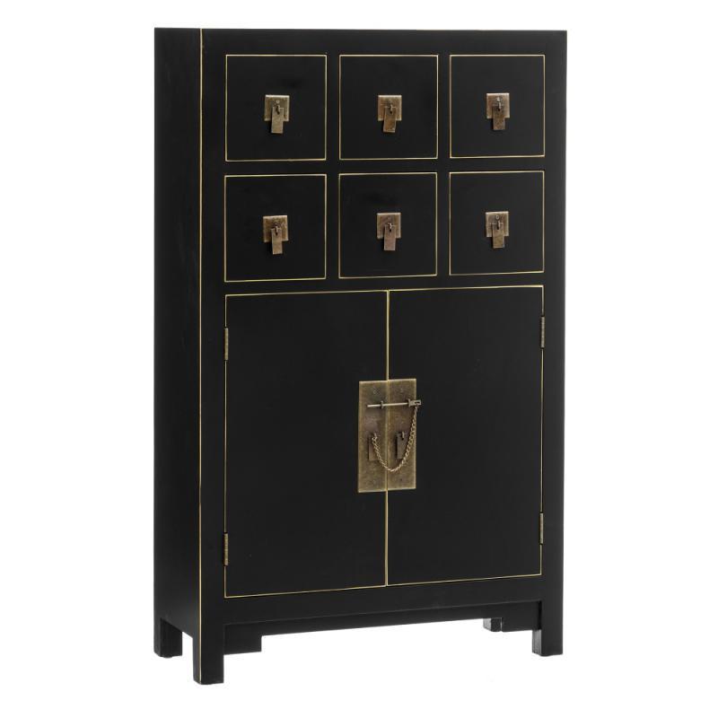 Meuble d'entrée 6 tiroirs 2 portes Noir - SHANGHAI