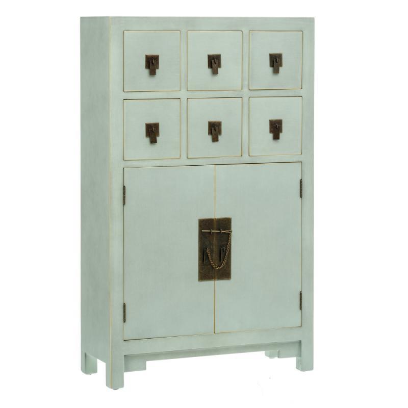 Meuble d'entrée 6 tiroirs 2 portes Vert Menthe - SHANGHAI