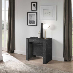 Console Extensible 4 allonges Marbre noir - TINO