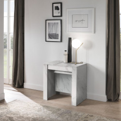 Console Extensible 4 allonges Marbre blanc - TINO